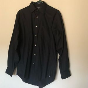 Lands End plain black dress shirt